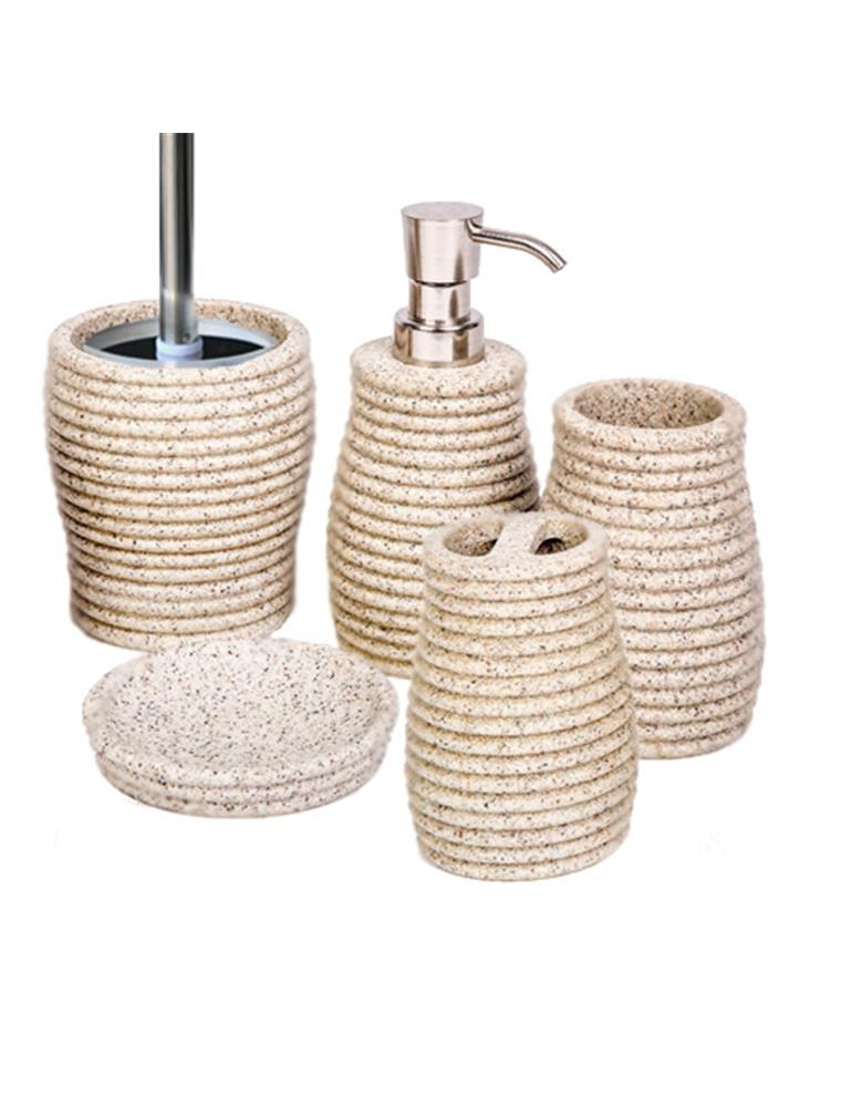 Bathroom accessory set 5 piece soap dish dispenser tumbler for Bathroom holder sets