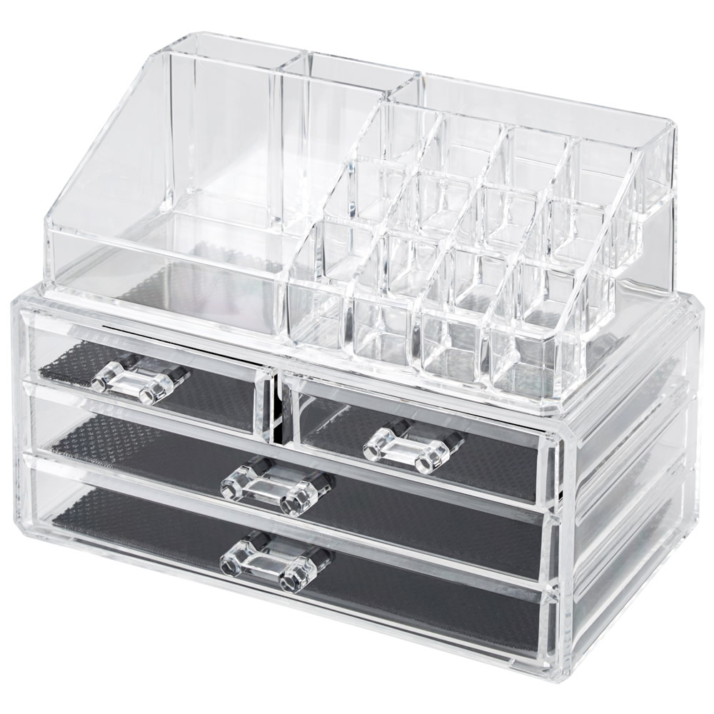 Clear Acrylic Cosmetic Organizer With Drawers Makeup