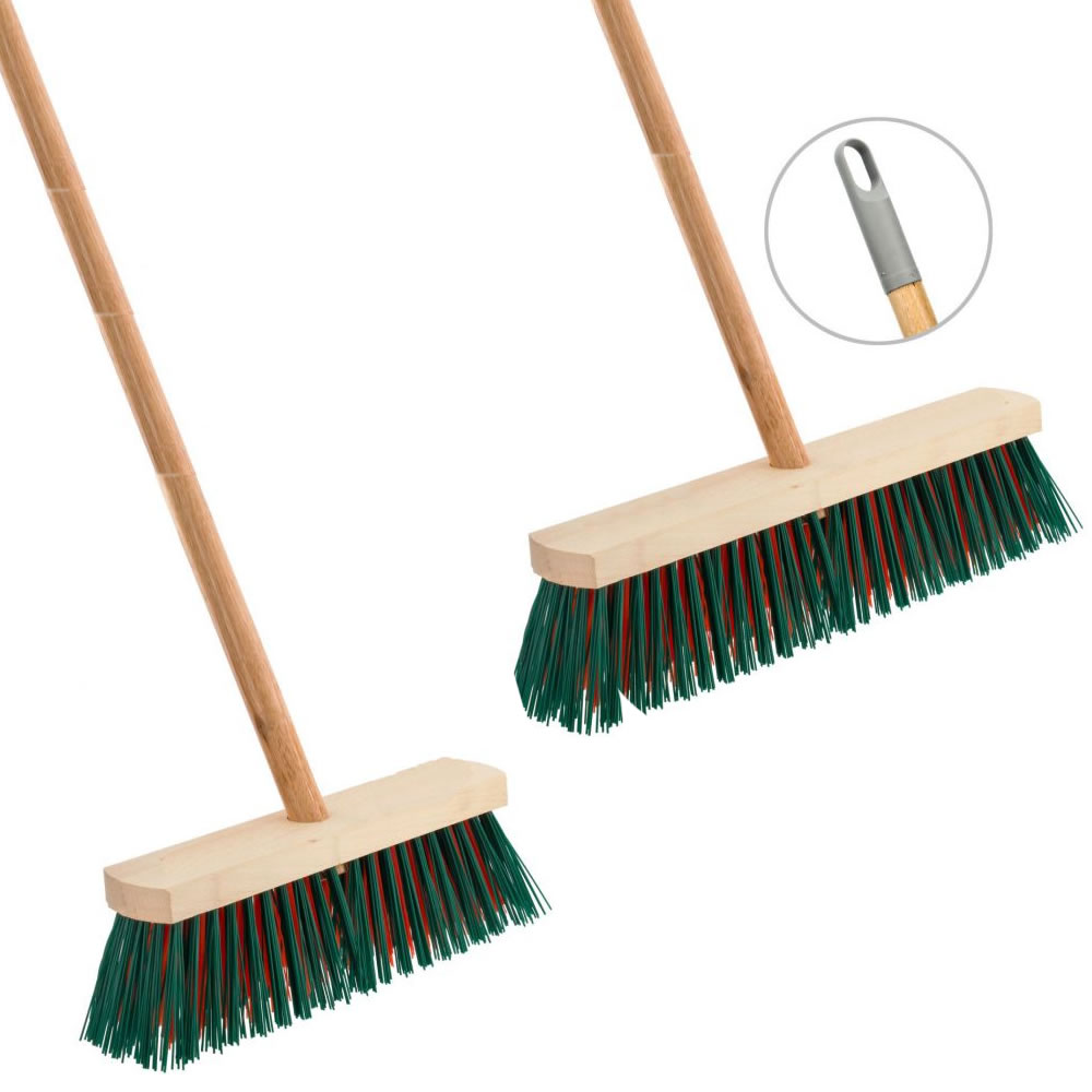 Heavy Duty Wooden Sweeping Brush Stiff Outdoor Yard Broom