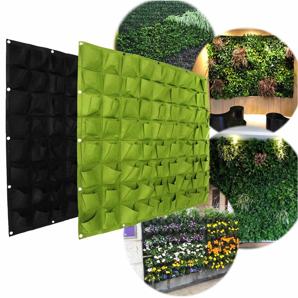 72 pocket planting bag hanging wall vertical planter for Pockets jardin vertical