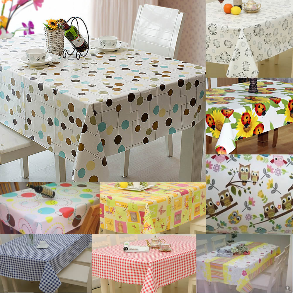 Large Wipe Clean Pvc Vinyl Tablecloth Dining Kitchen Table