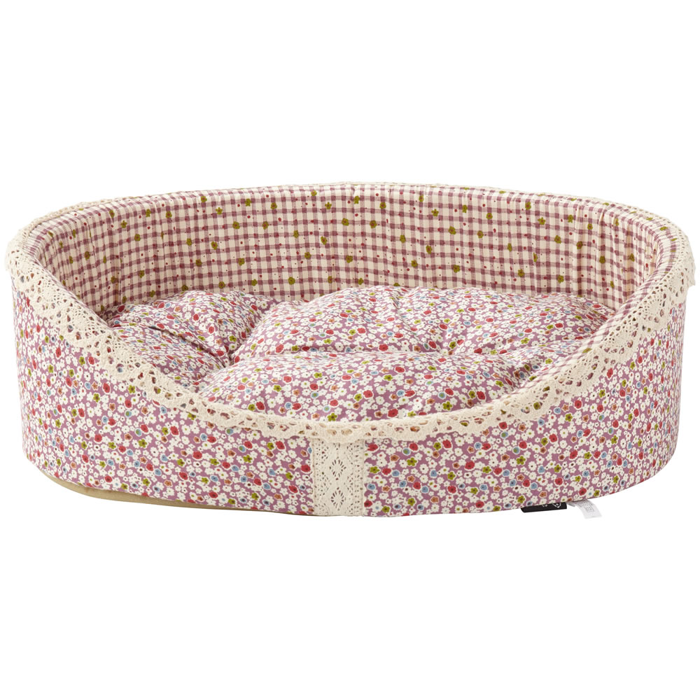 bunty blossom dog bed soft washable flower fabric cushion warm luxury pet basket ebay. Black Bedroom Furniture Sets. Home Design Ideas