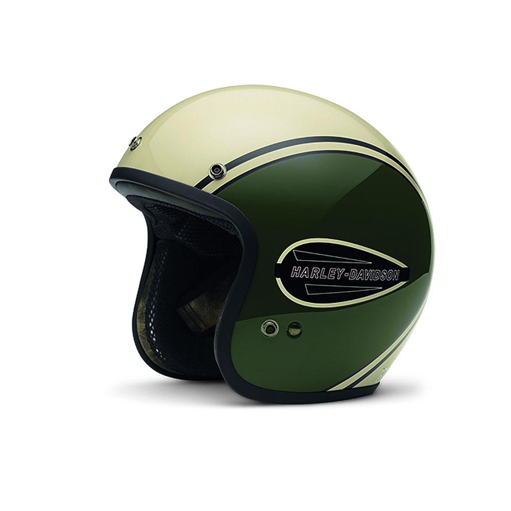 harley davidson 3 4 freeway retro tank helmet olive white xl ebay. Black Bedroom Furniture Sets. Home Design Ideas