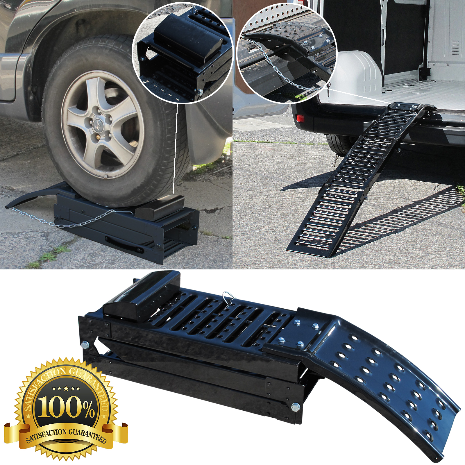 Folding Black Steel Car Ramps Dual Purpose Steel Motorcycle Loading Ramp Single Ebay
