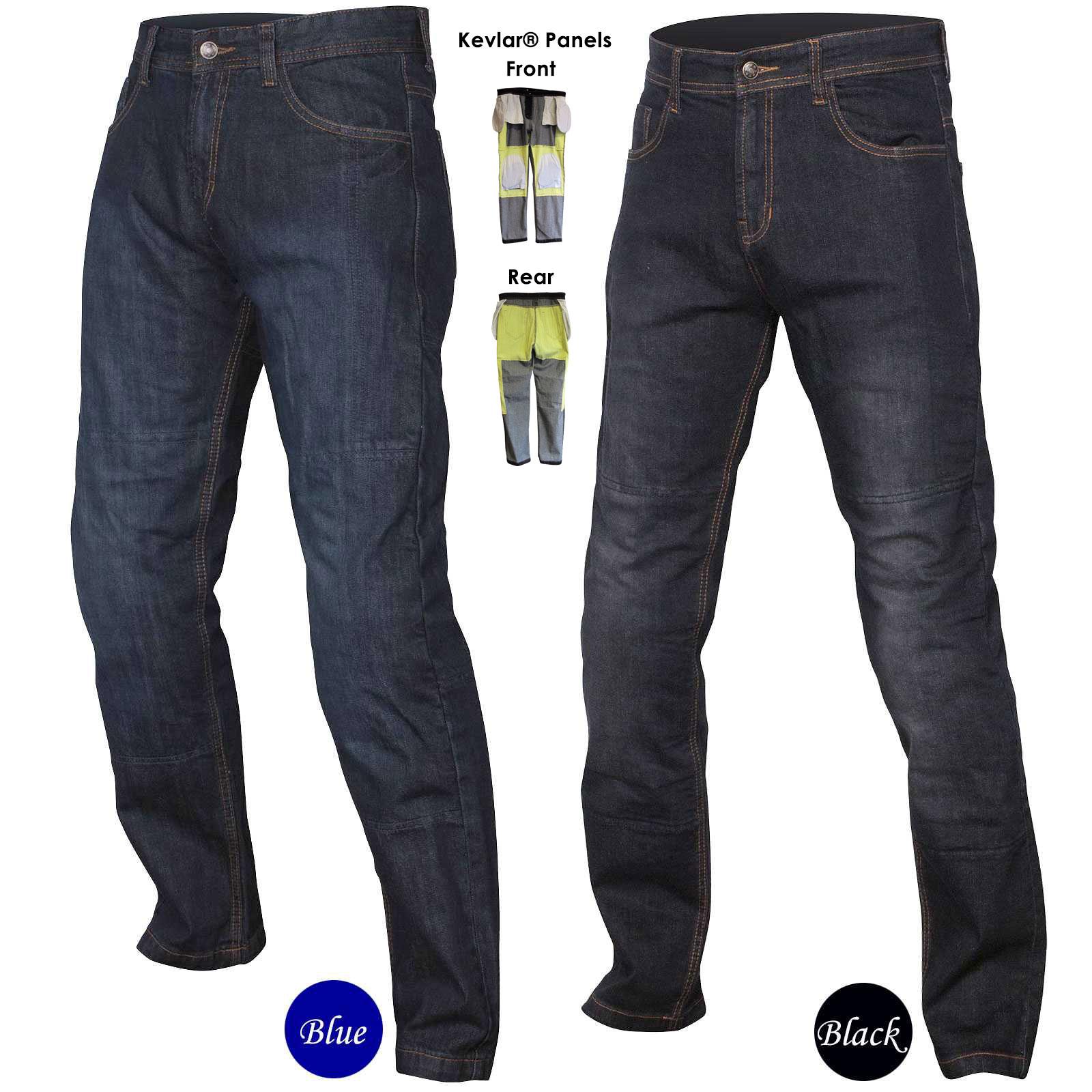 men 39 s kevlar motorbike motorcycle protective trousers pants jeans black or blue ebay. Black Bedroom Furniture Sets. Home Design Ideas