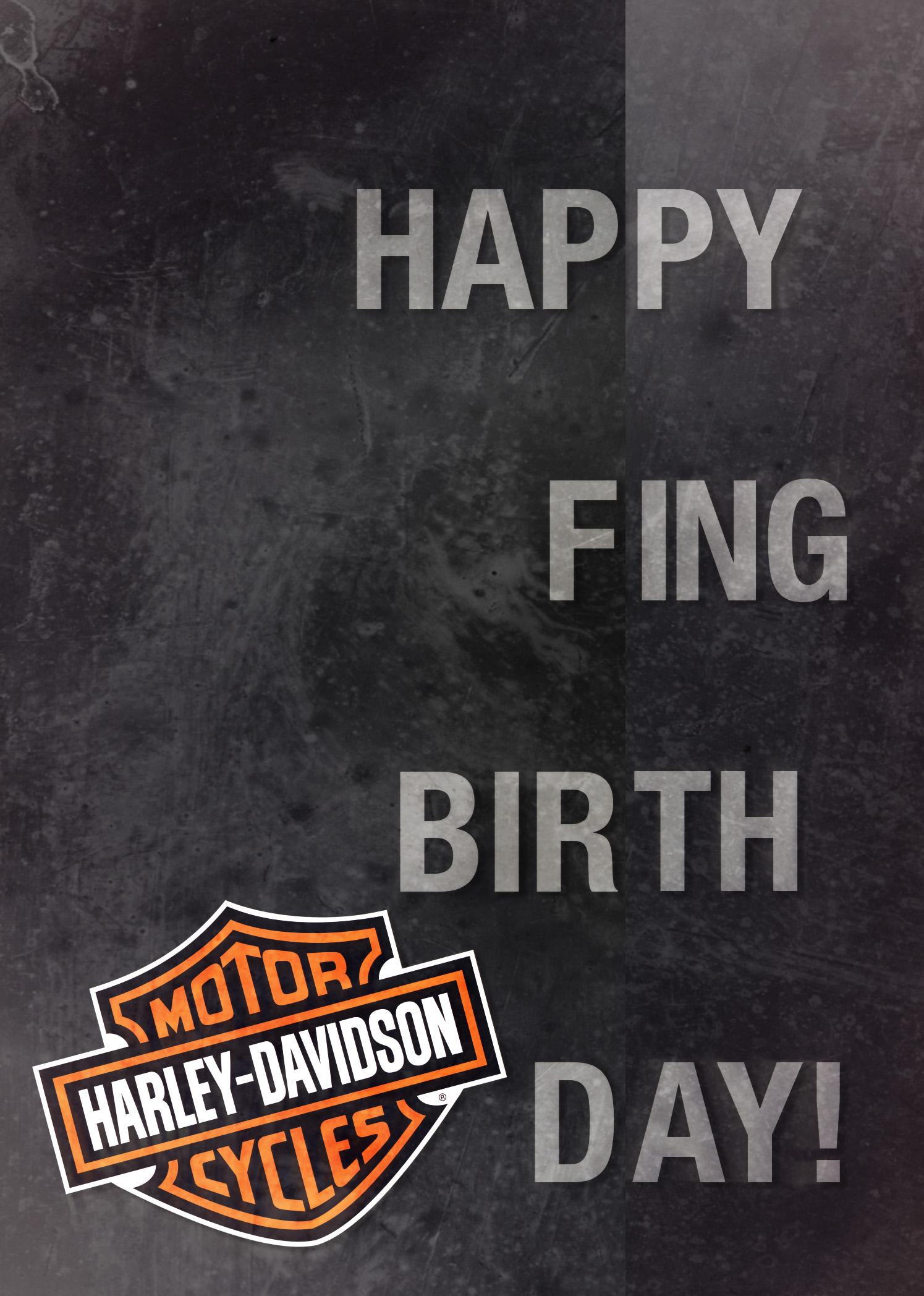 Harley Davidson Happy Fing Birthday Card – Harley Davidson Birthday Cards