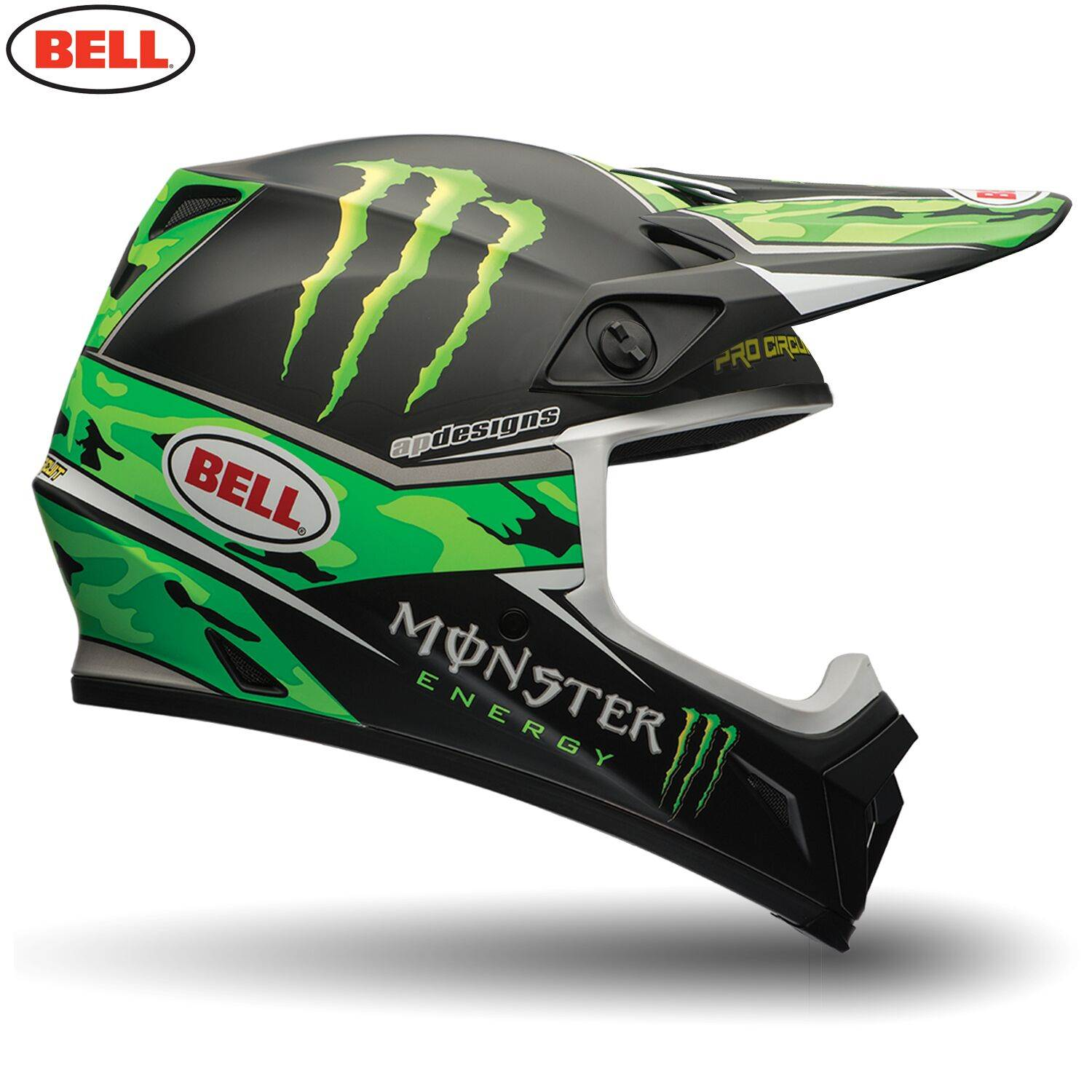 bell motorcycle motocross helmet mx 9 circuit monster camo. Black Bedroom Furniture Sets. Home Design Ideas