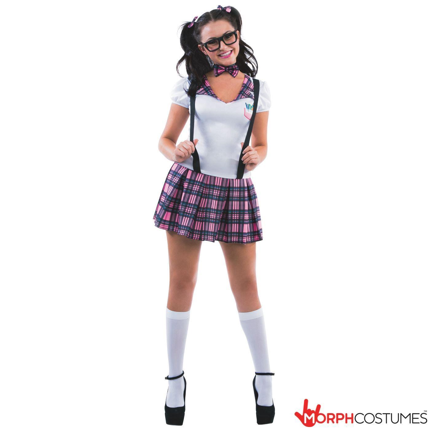 Sexy Schoolgirl Costume Womens Geek Nerd School Girl Fancy ...