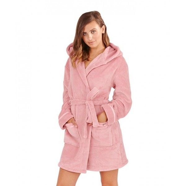 Bathrobe: Womens Soft Hooded Short Bathrobe Dressing Gown Housecoat