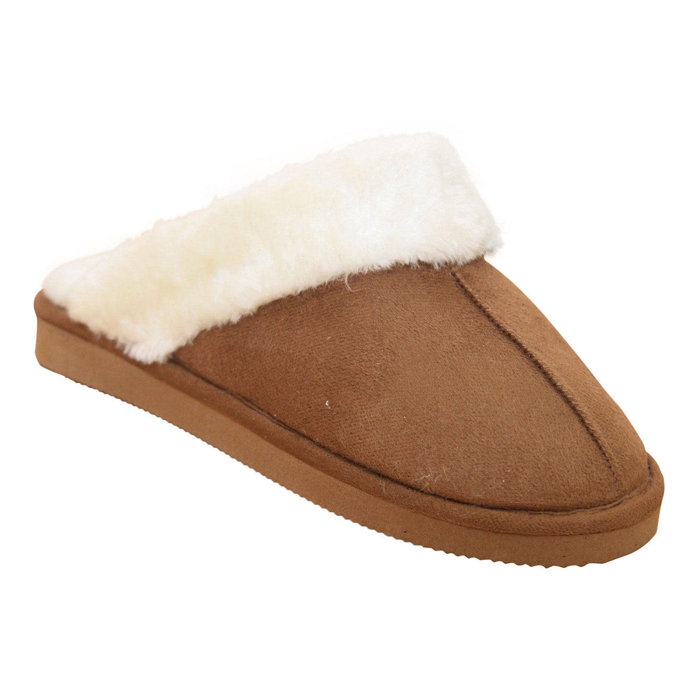 Señoras para mujer Mulas Zapatillas Nuevo en caja marrón oscuro lana forrada mula Zapatilla 3-8