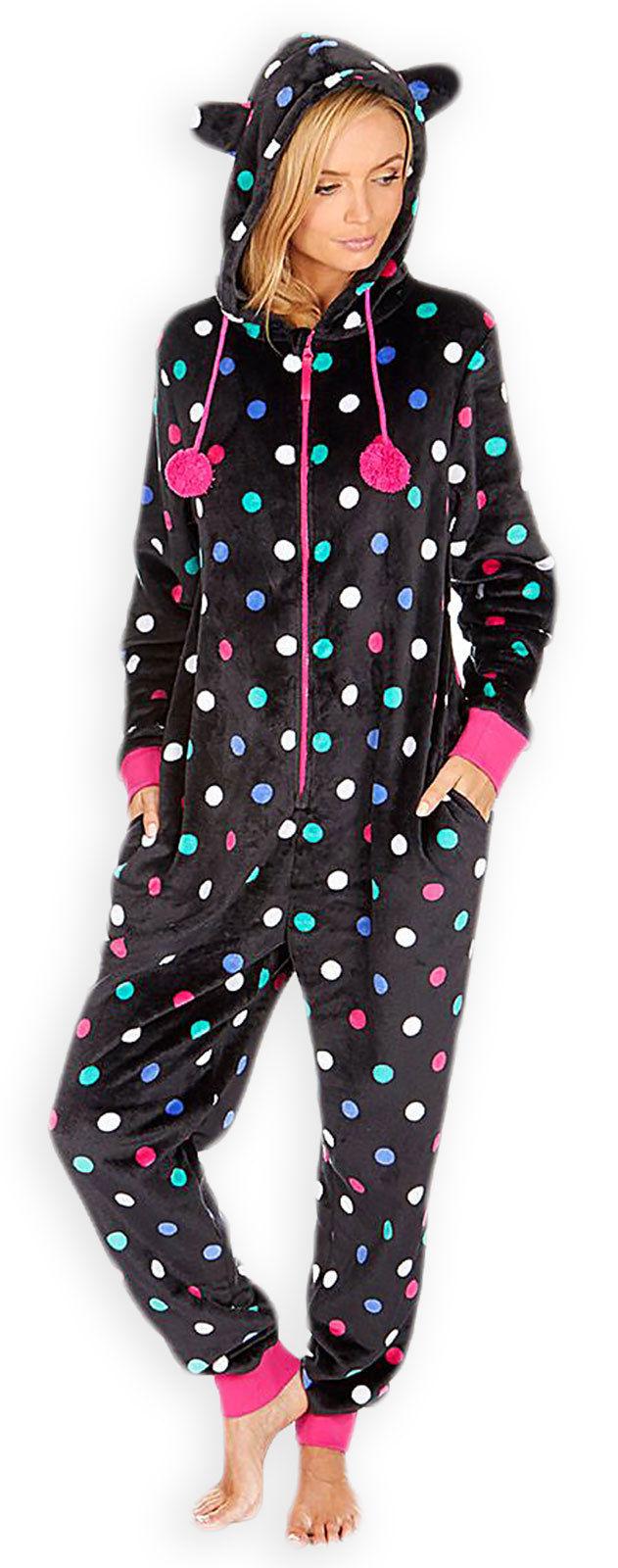 womens ladies fleece all in one piece pyjama jump sleepsuit onesie pj nightwear ebay. Black Bedroom Furniture Sets. Home Design Ideas
