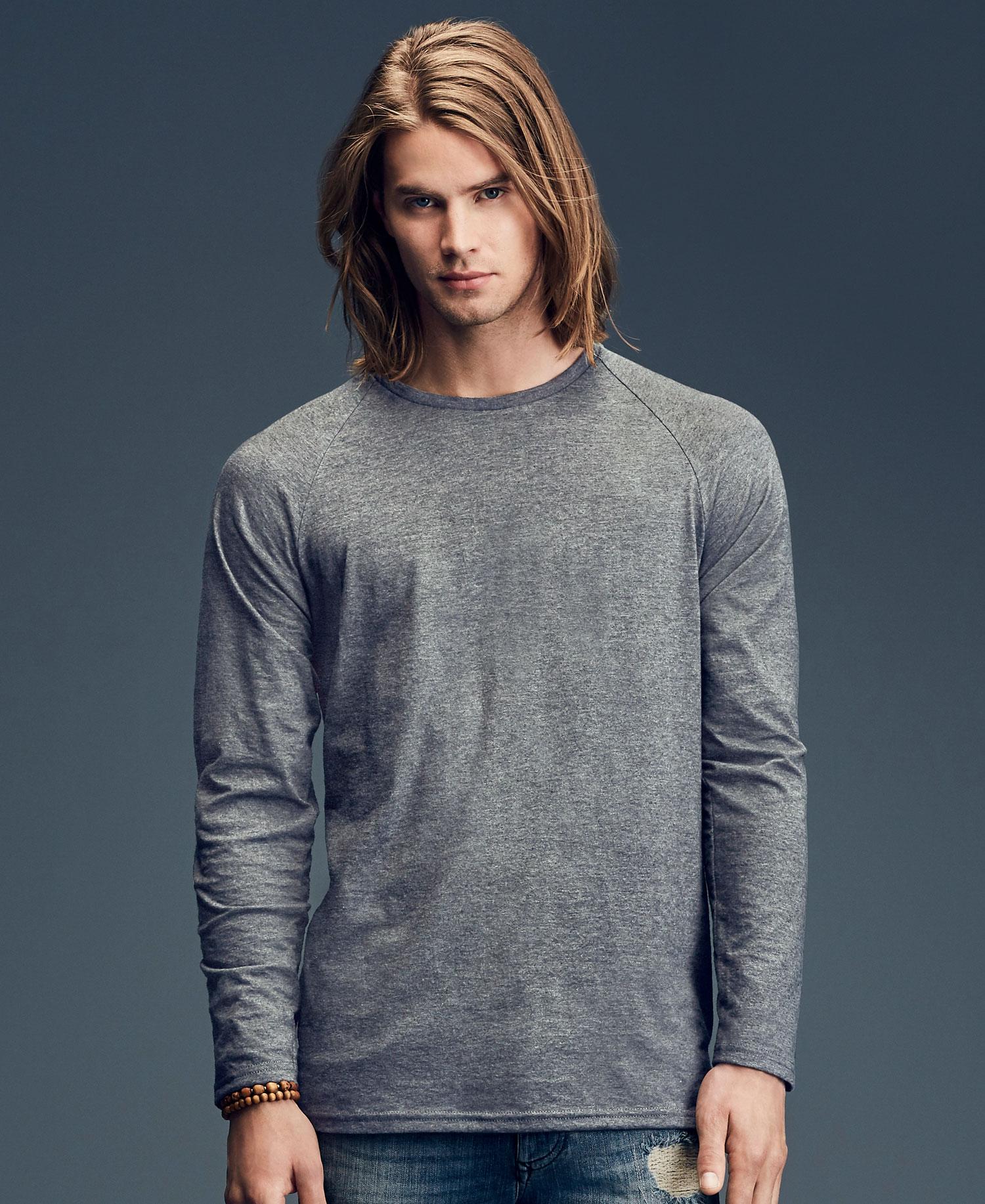 Anvil Hommes T-shirt à manches longues Bustier Dos Uni Haut coton casual fashion