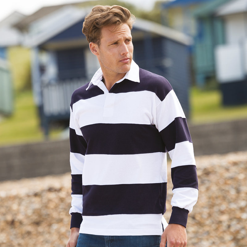 Front row sewn stripe long sleeve rugby shirt fr08m ebay for Long sleeve striped rugby shirt