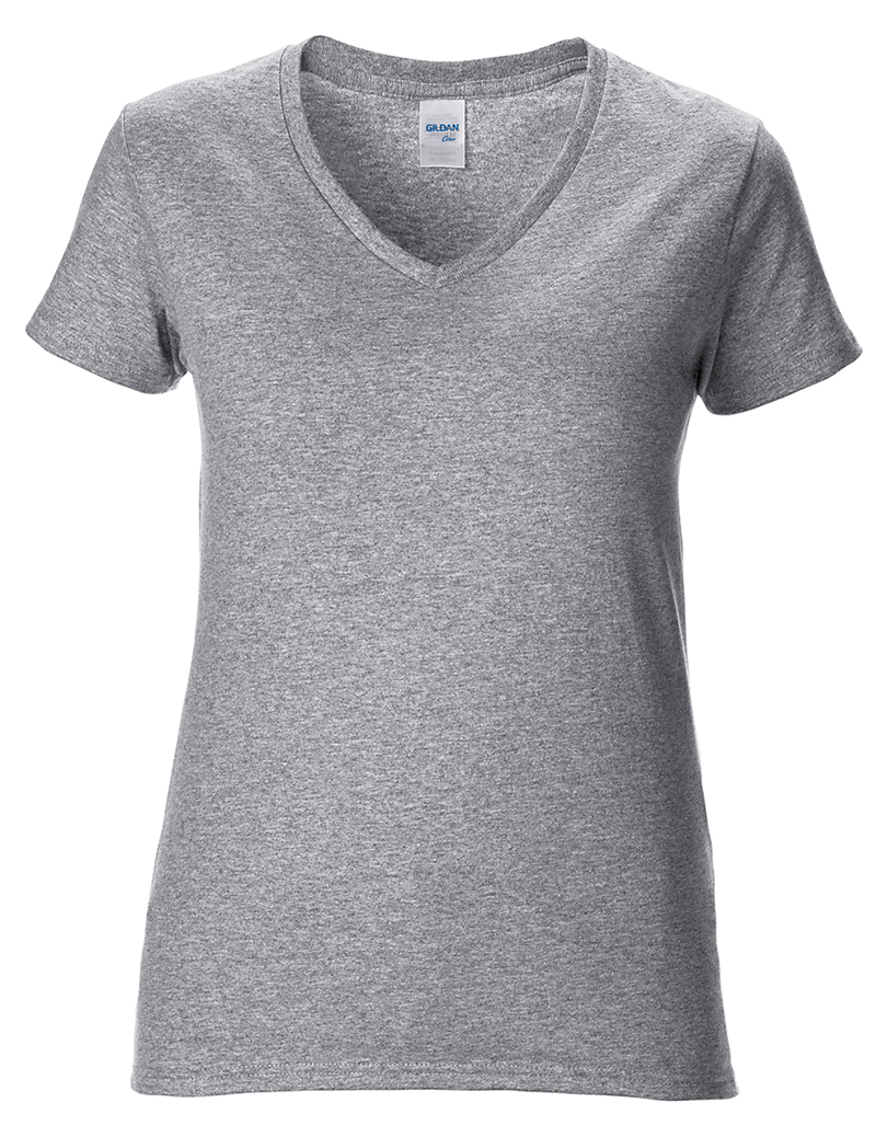 Gildan gd015 womens premium cotton v neck semi fitted for Gildan v neck t shirts for men