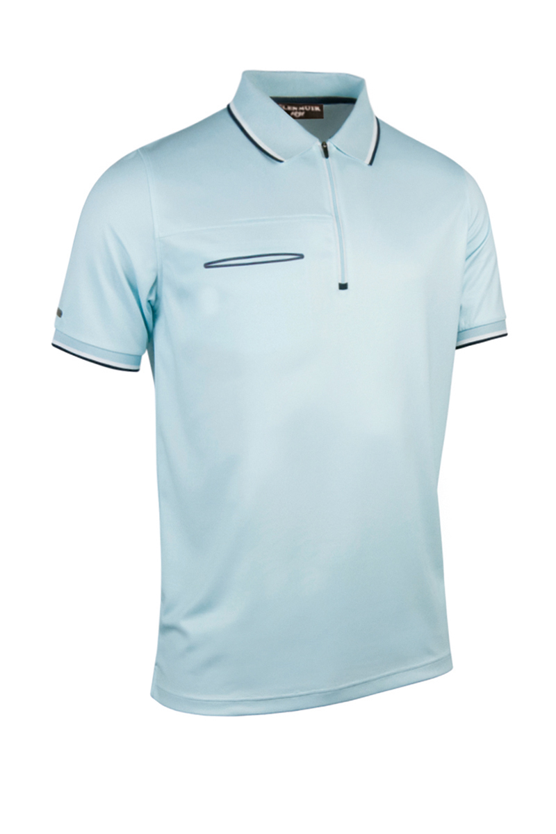 Glenmuir gm088 mens performance polyester zip neck polo for Polo t shirts with pockets