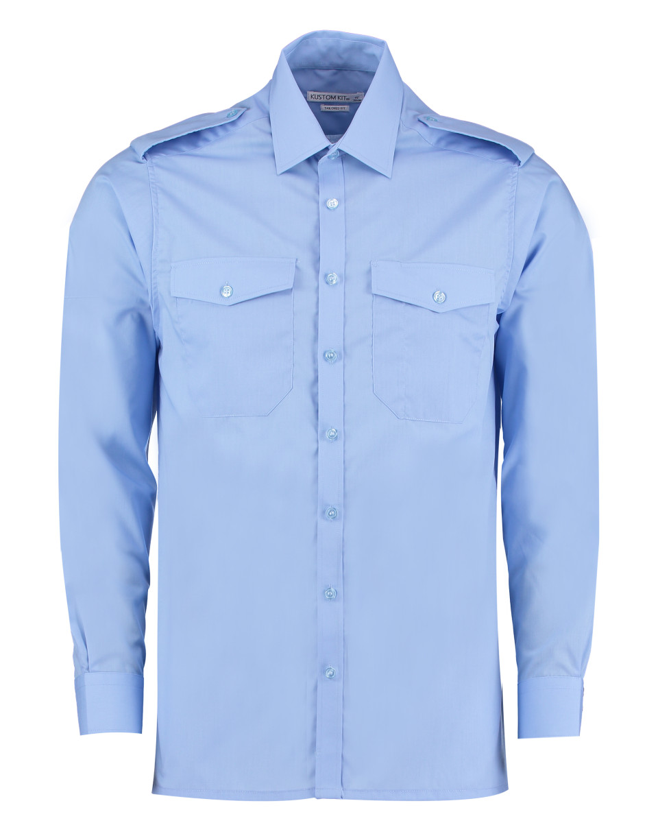 Kustom Kit Hommes/'s Pilot Shirt à Manches Longues Fondue col poches poignets Smart Tailles