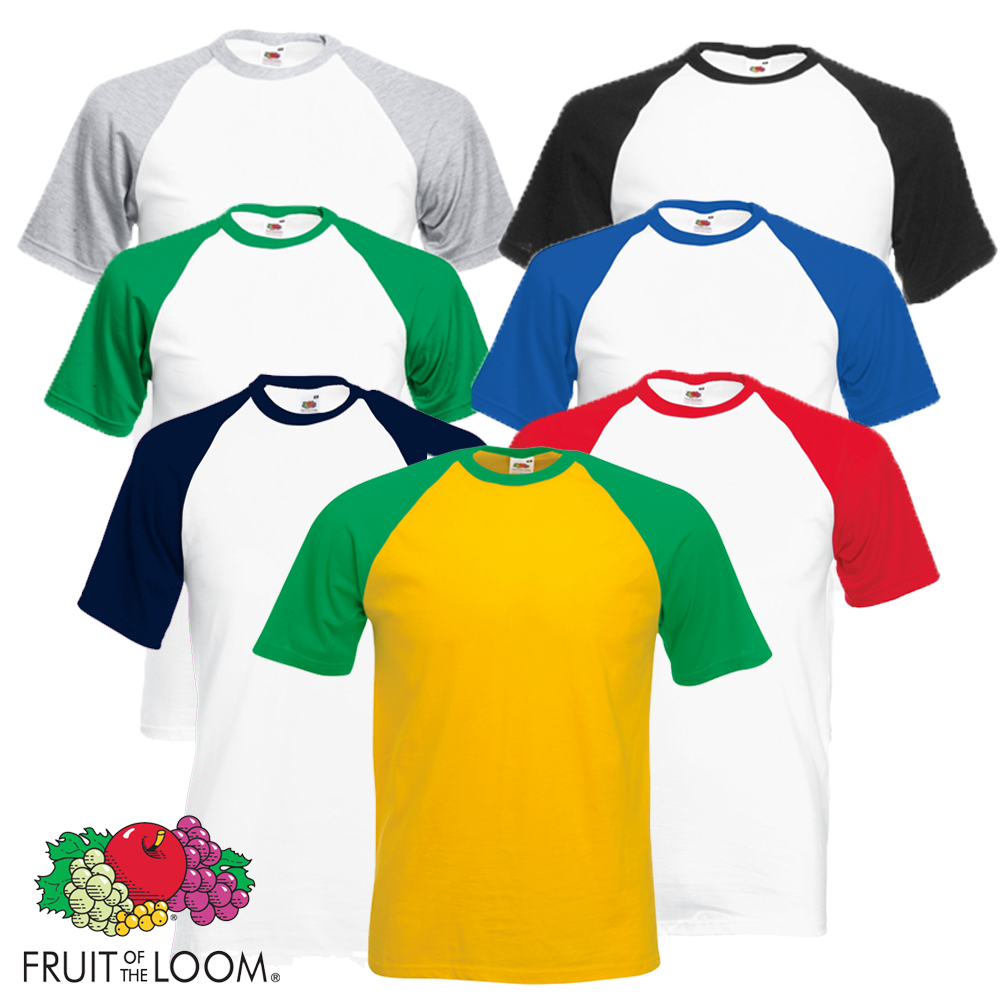 fruit of the loom men 39 s t shirt baseball tee sports contrast short sleeves s 2xl ebay. Black Bedroom Furniture Sets. Home Design Ideas