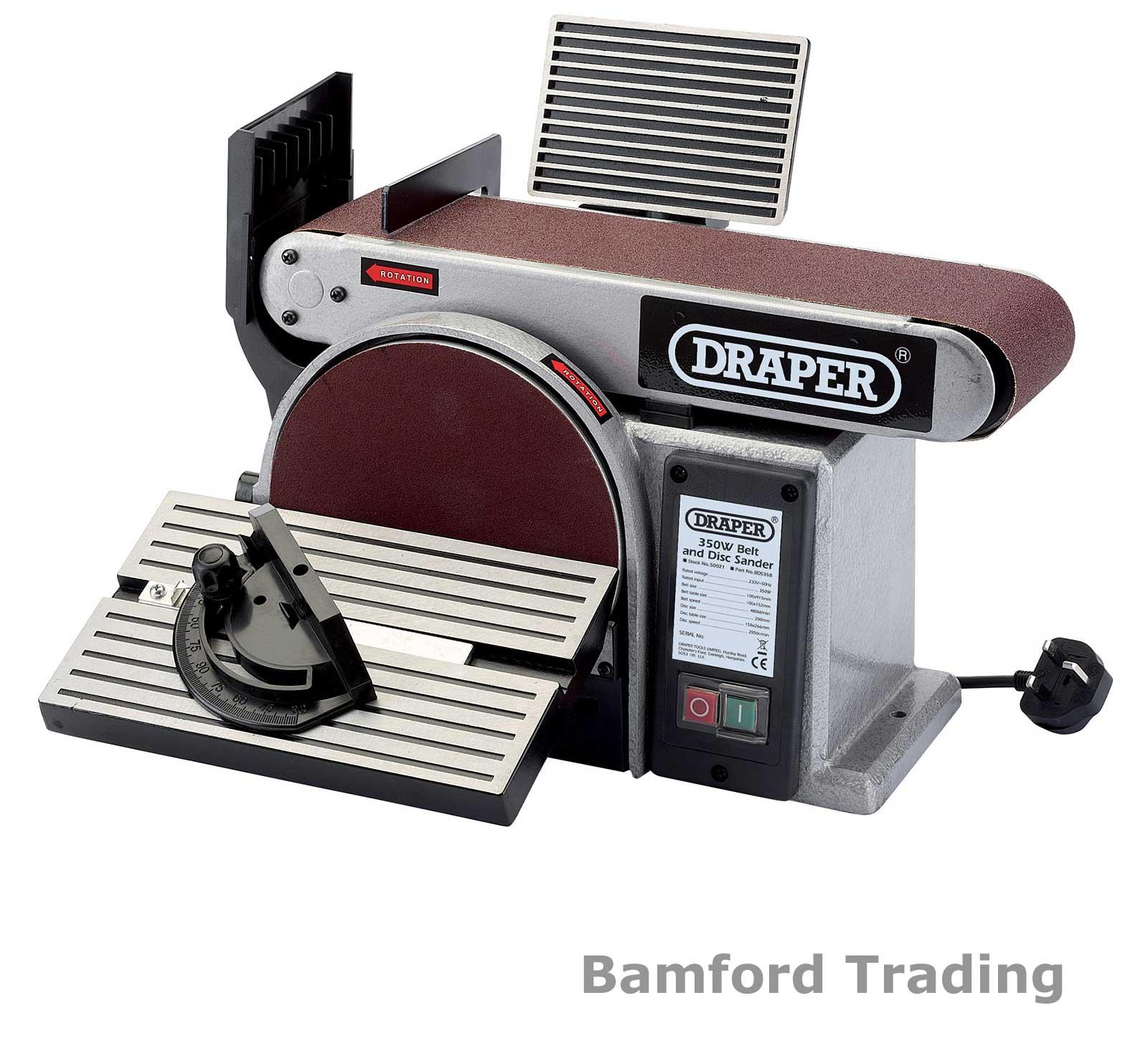 Draper Bench Mounted Belt And Disc Sander Sanding Machine 350w 230v 50021 Bds368 Ebay