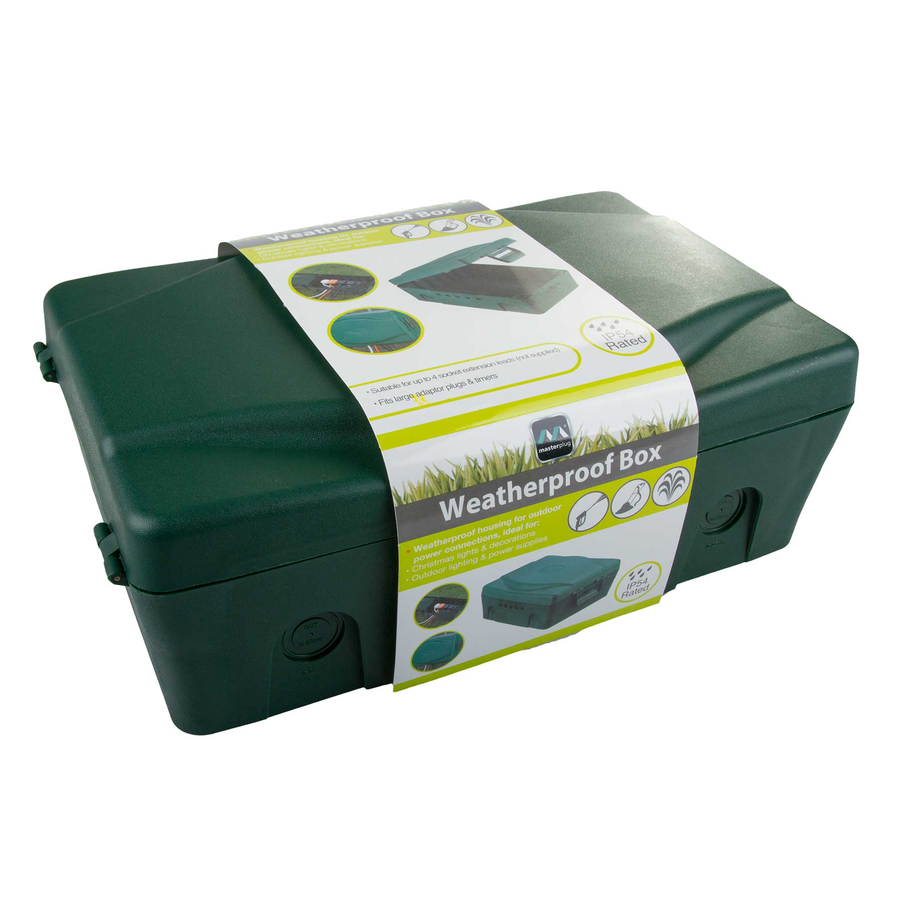 Electric Power Box : Masterplug green weatherproof box for outdoor electrical
