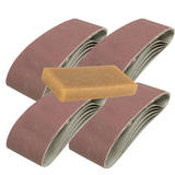 20 Silverline 433236 Sanding Belts 75mm x 533mm 80 Grit with Cleaner