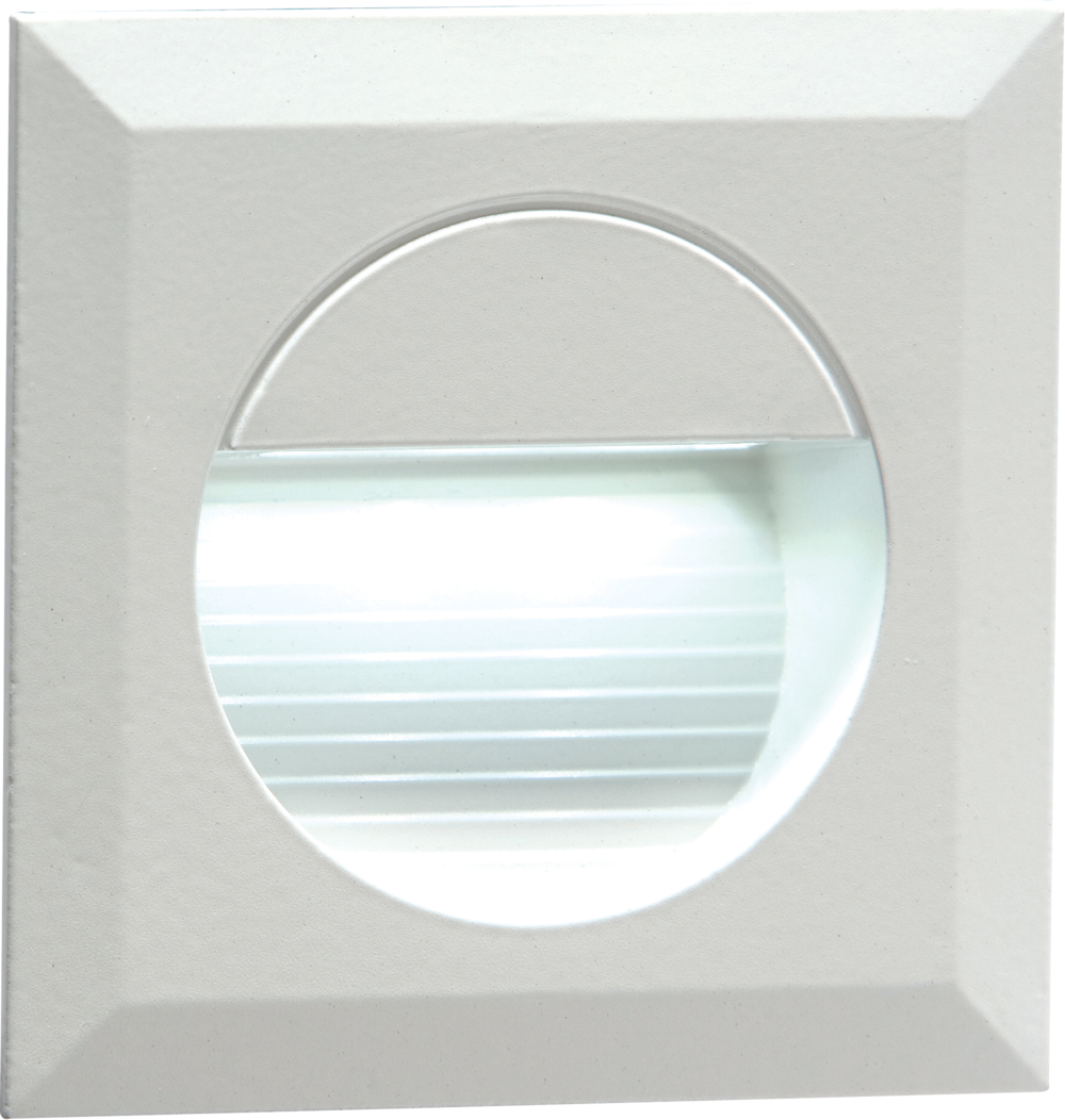 Stair Wall Light White LED Knightsbridge NH019W 230V Recessed IP54 Square In