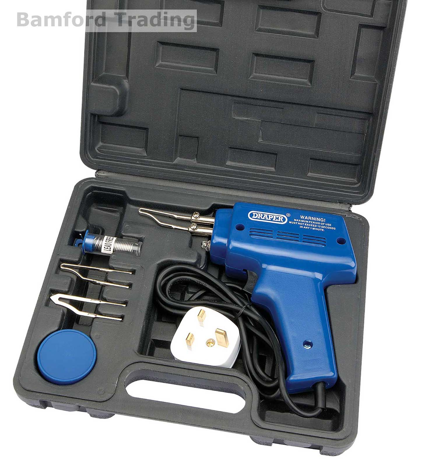 Draper Tools Complete Electric Soldering Iron Kit Set with Solder/Flux 100W Gun