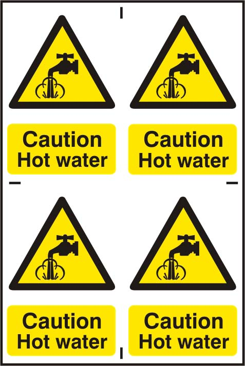 Caution Hot Water Self Adhesive PVC (200 x 300mm) Sign Notice Enlarged Preview