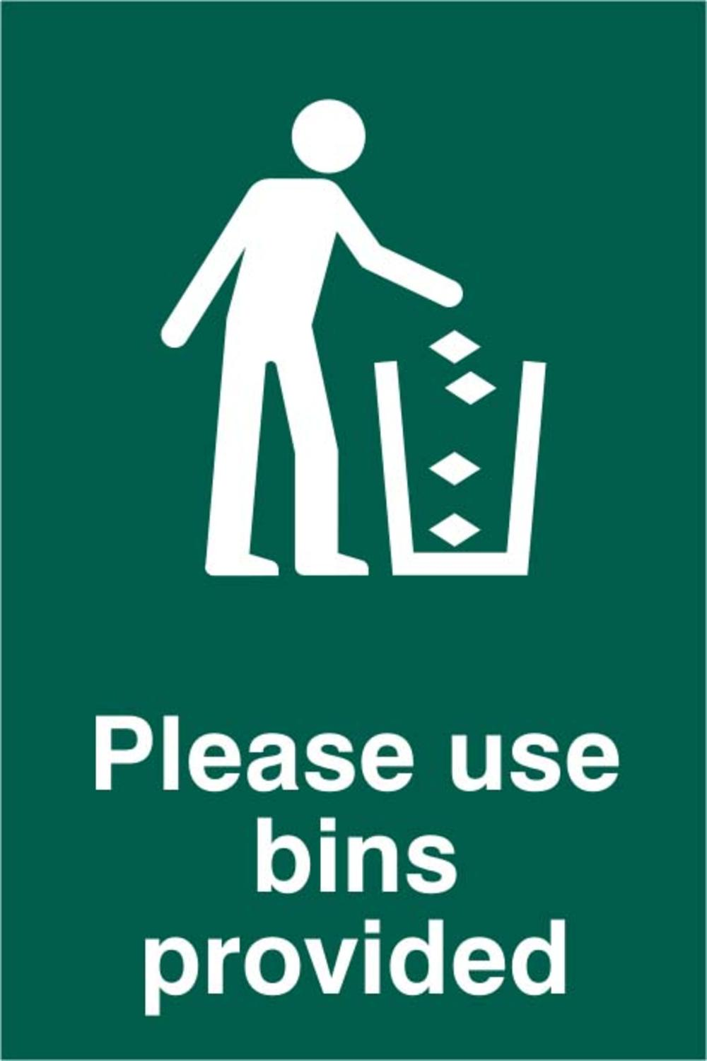 Please Use Bins Provided Polycarbonate 200 X 300mm Sign