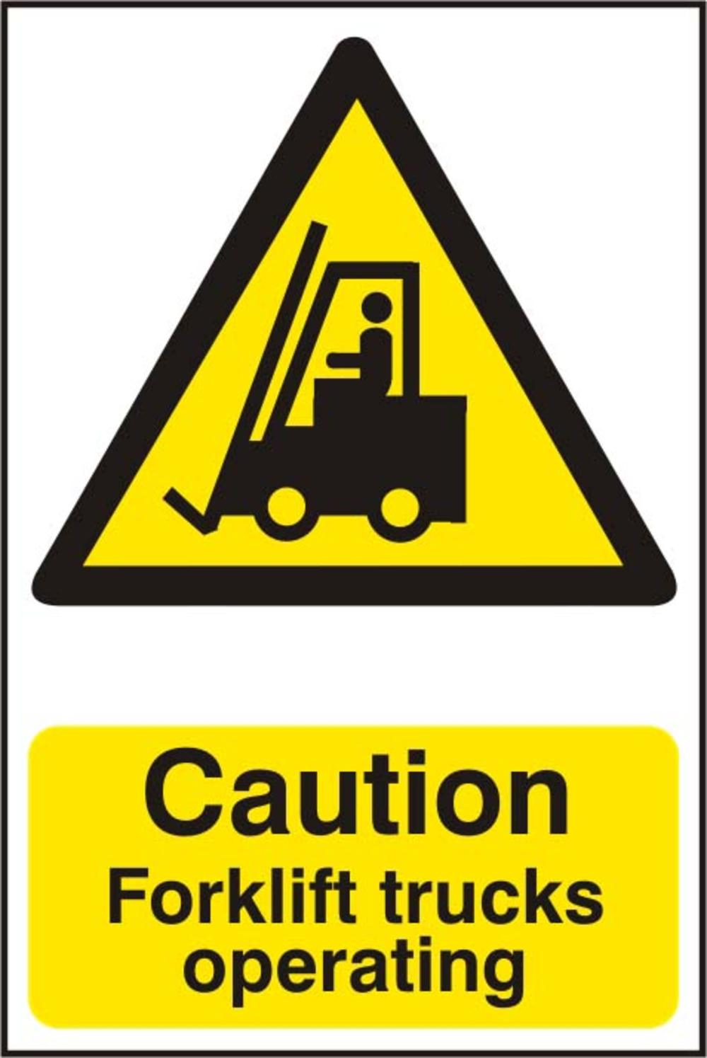 Caution Forklift Trucks Operating Polycarbonate 200 X