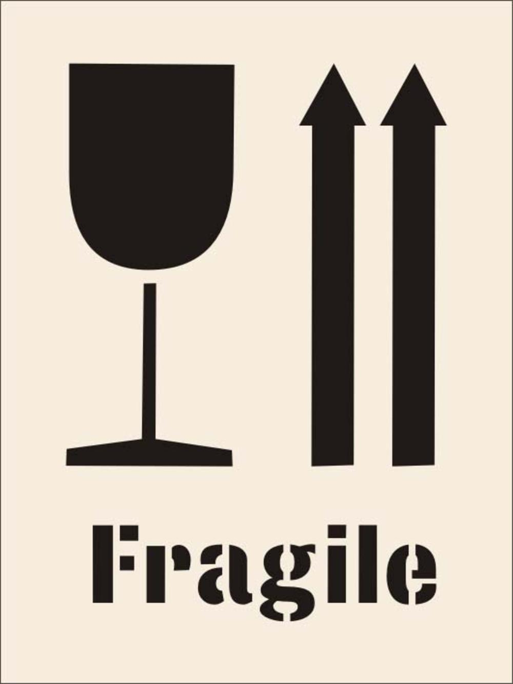 Fragile Arrows Amp Glass Stencil 190 X 300mm Fragile