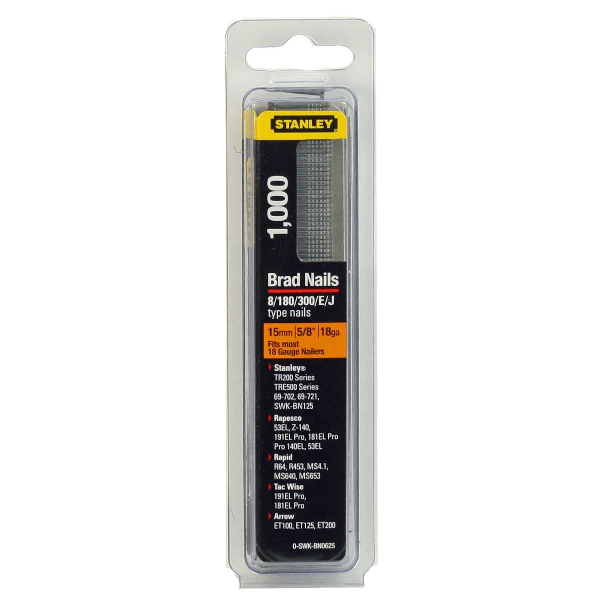 Pack of 1000 15mm Stanley Brad Nails 0-SWK-BN0625 18 Gauge ...