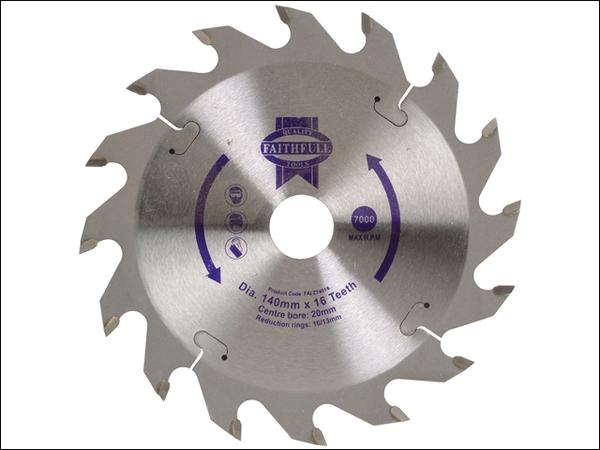 Product image for Faithfull Circular Saw Blade TCT 140 x 20 x 16 Tooth POS