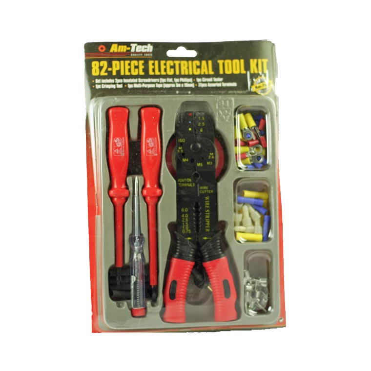 electricians tool kit with crimps crimper screwdrivers insulation tape terminals. Black Bedroom Furniture Sets. Home Design Ideas