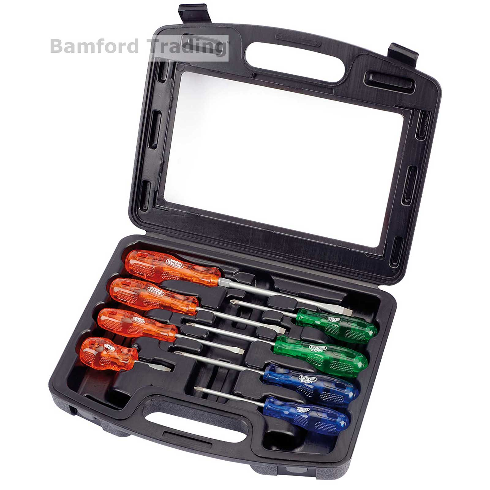 draper expert engineers screwdriver set quality 8 piece professional tool case ebay. Black Bedroom Furniture Sets. Home Design Ideas