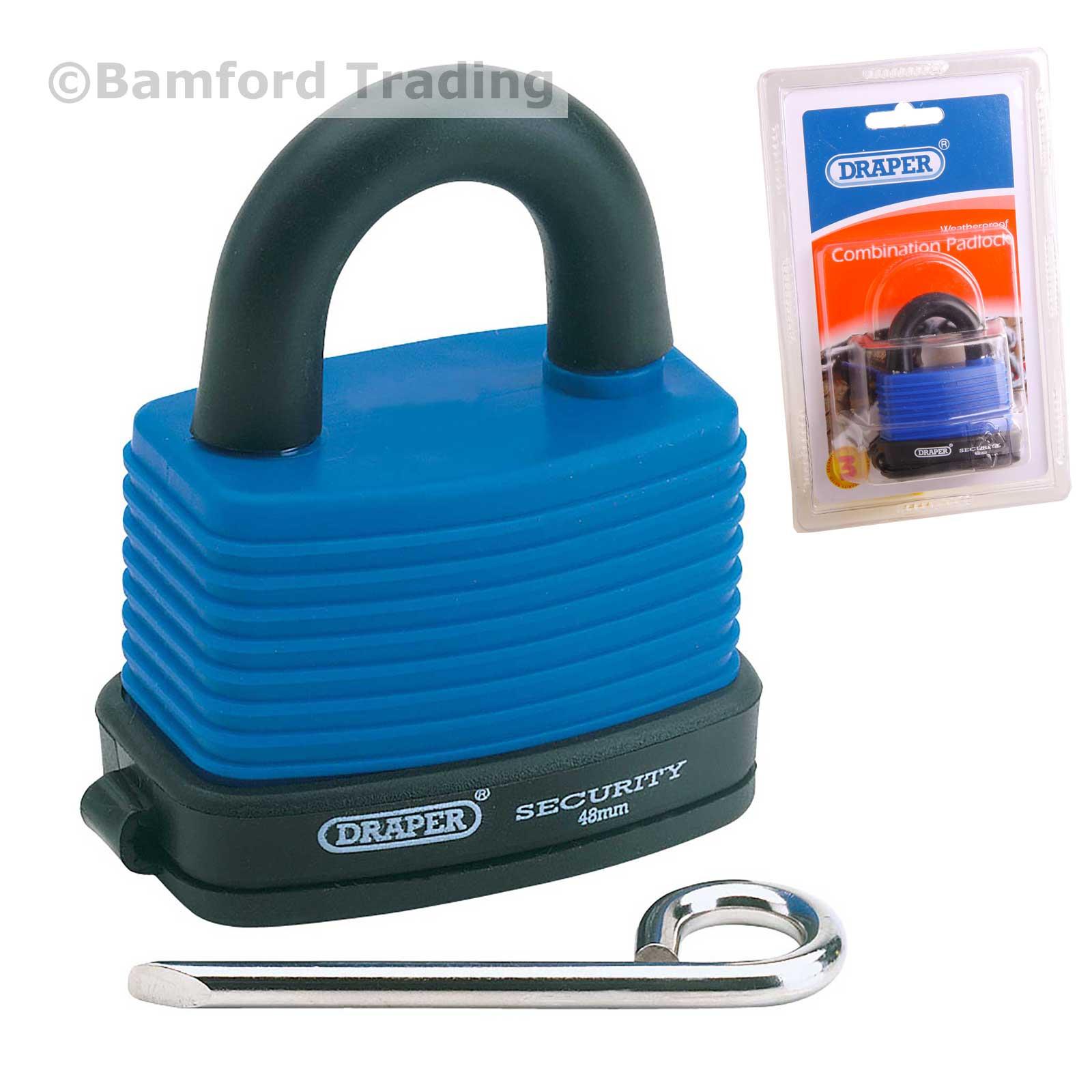 Draper Combination Lock Padlock Resettable Water Resistant Weatherproof 64175