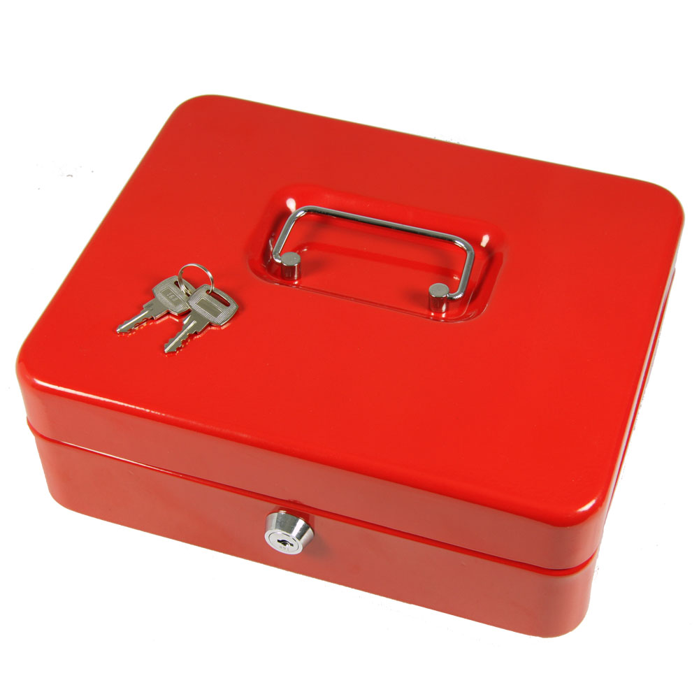 Red 12 large steel metal money box petty cash home safe for Home money box
