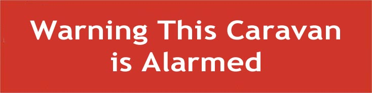 Warning This Caravan is Alarmed Window Cling Sign Non Permanent Sticker Notice