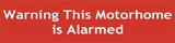 This Motorhome is Alarmed Non Permanent Window Cling Sticker Sign