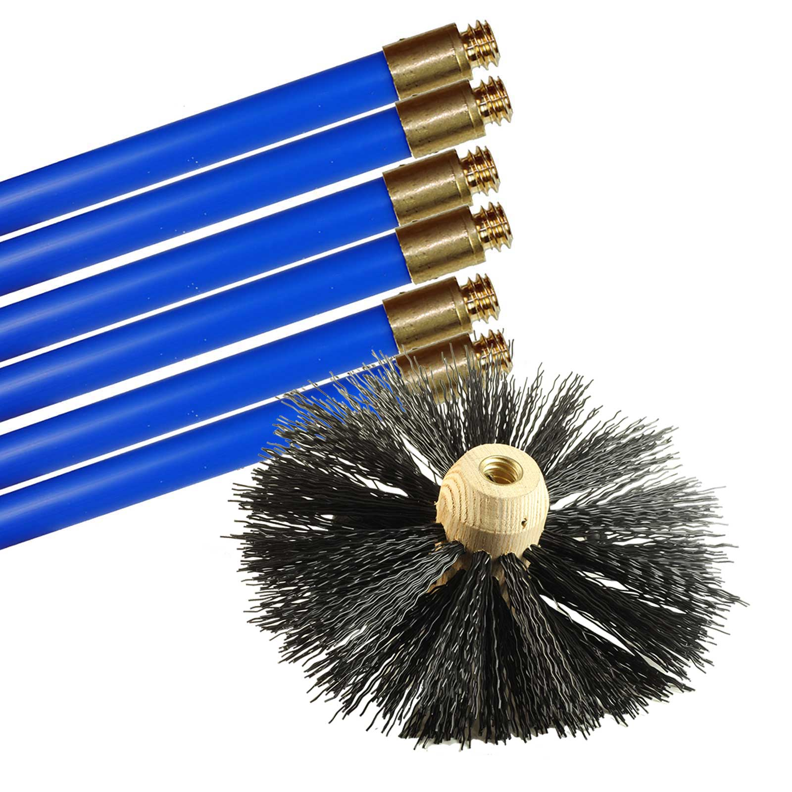 new bailey chimney cleaning set with brush and 6 rods ebay. Black Bedroom Furniture Sets. Home Design Ideas