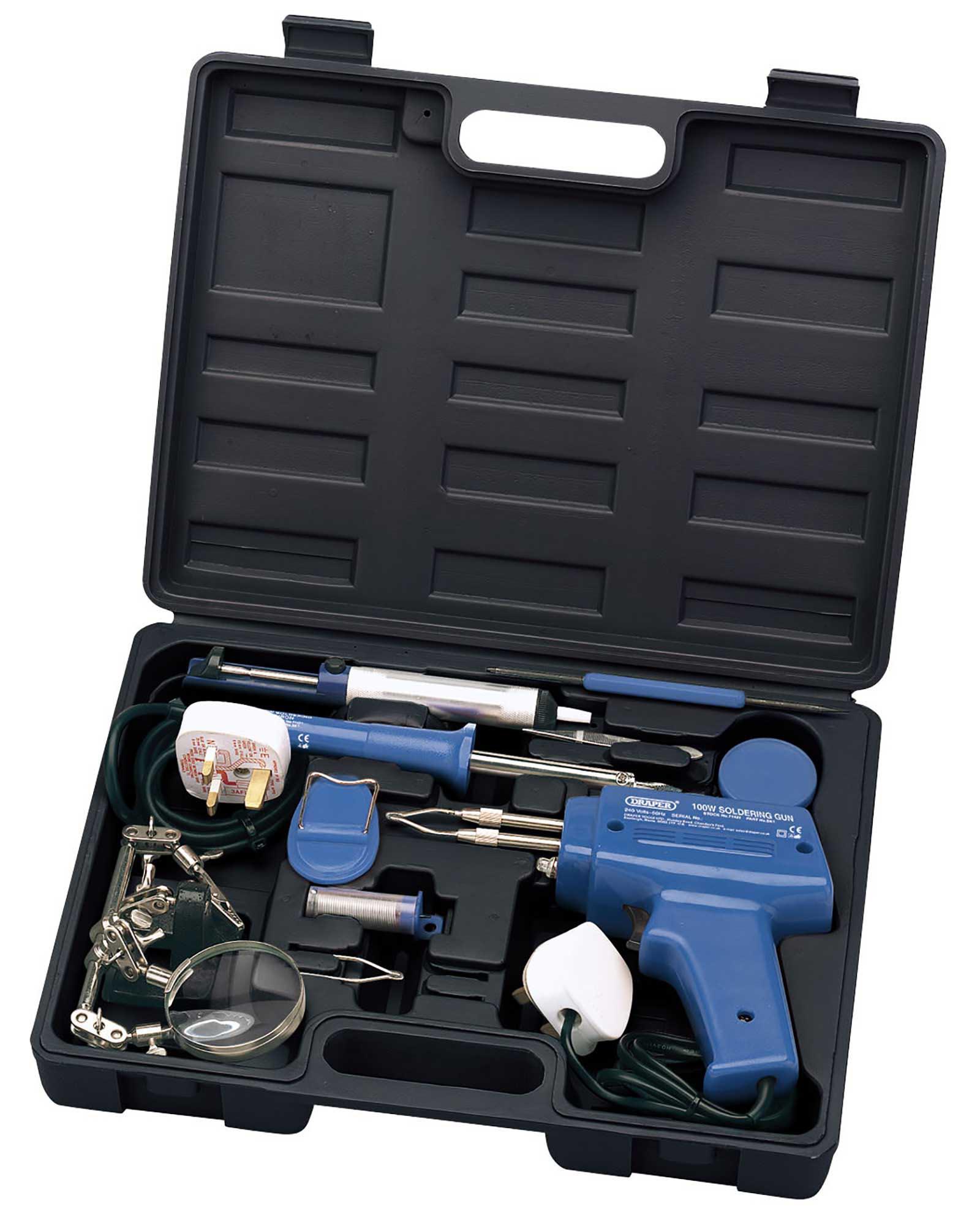 Draper Complete Soldering Iron Gun Kit with Solder Flux Sucker & Helping Hands