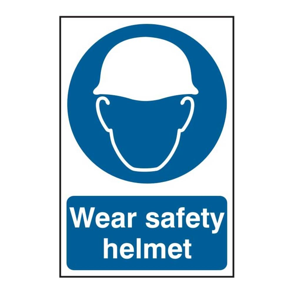 Wear Safety Helmet Self Adhesive Pvc Sign 200 X 300mm
