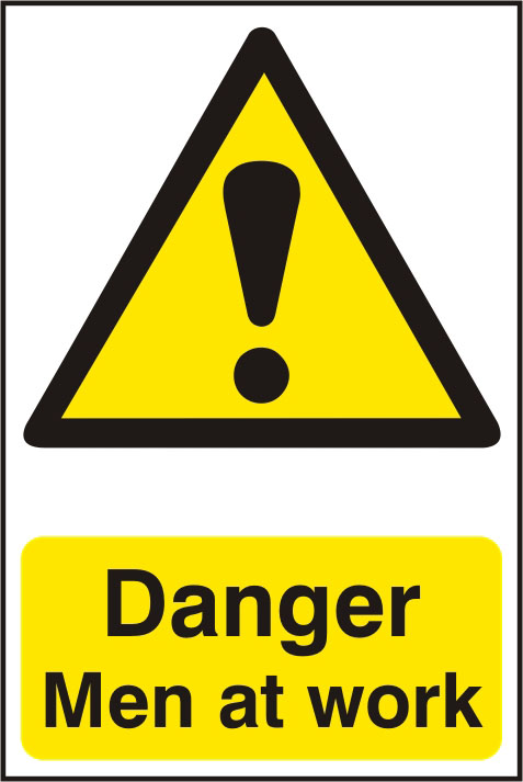Danger Men at Work Self Adhesive PVC Sign Notice (200 x 300mm) Enlarged Preview