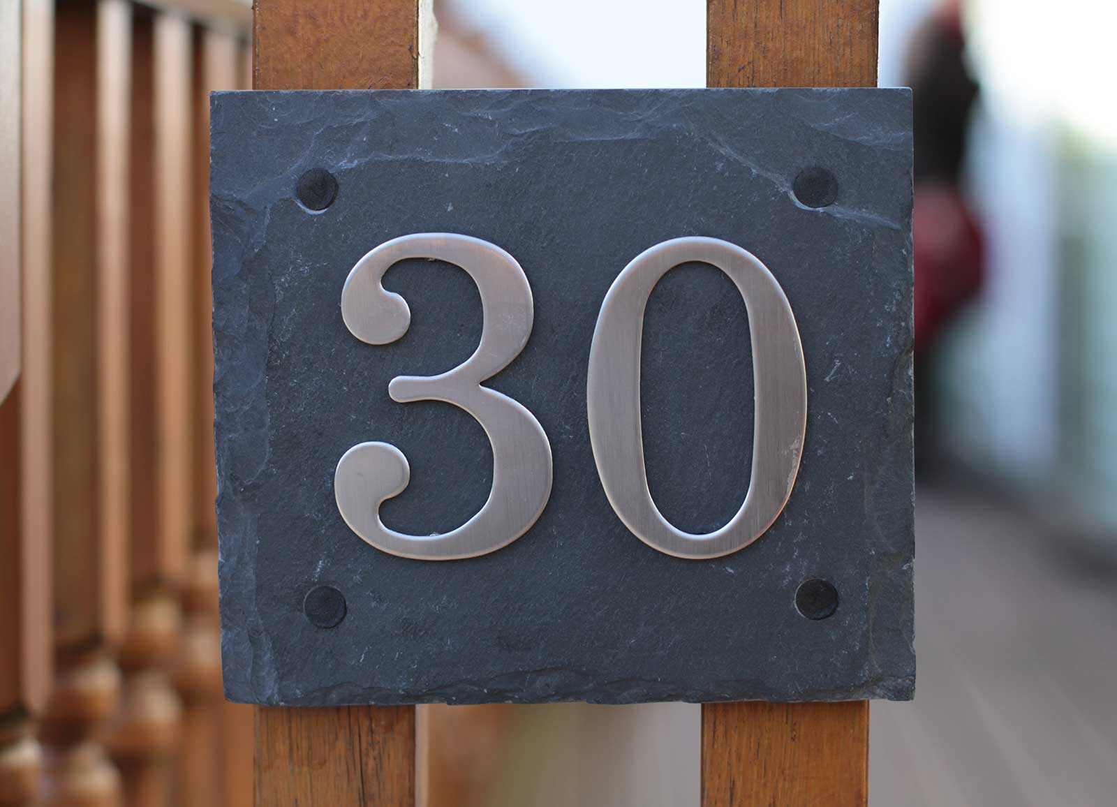 Natural slate door house number plaques with choice of for House numbers