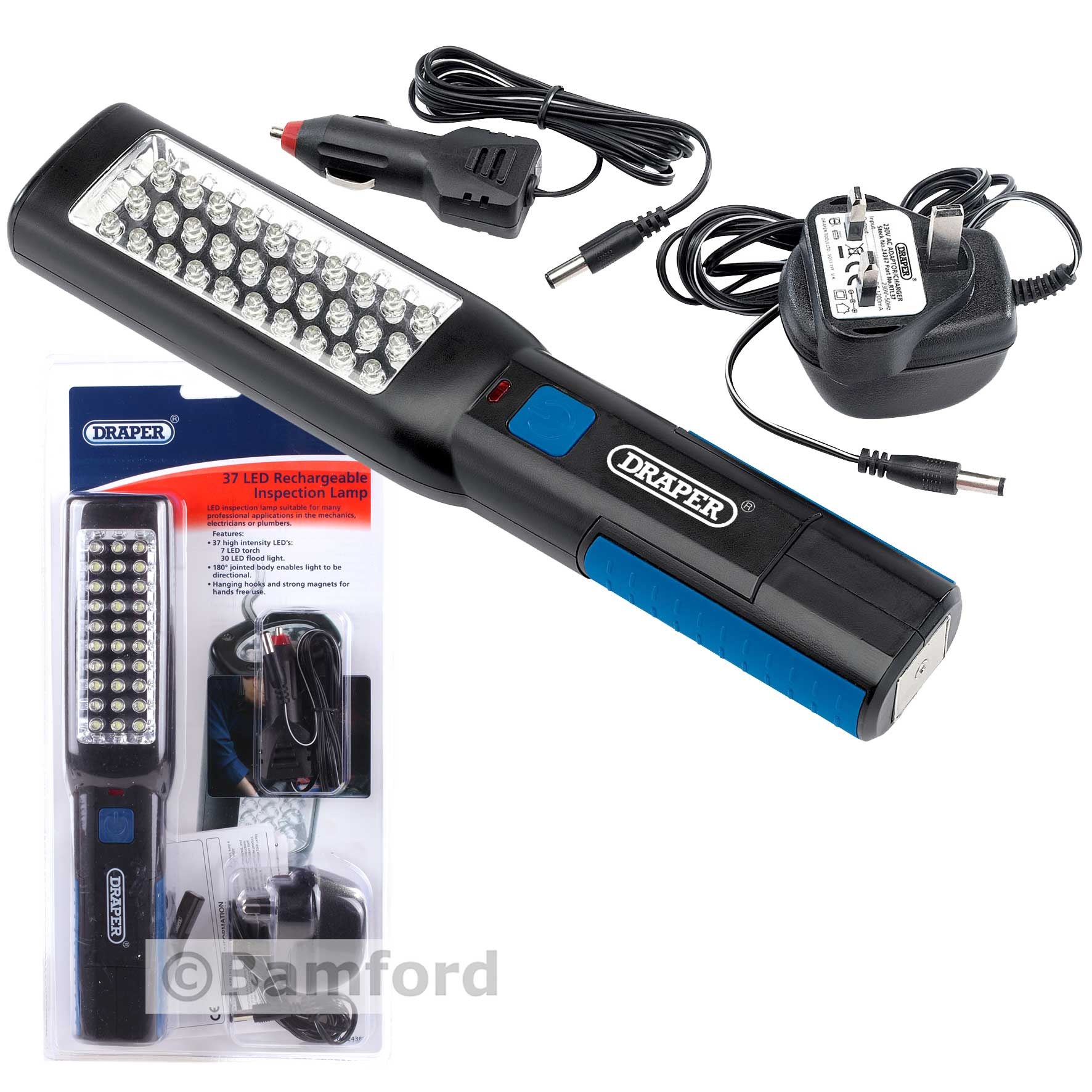 30 Led Rechargeable Inspection Lamp Light Torch Cordless: Draper Cordless Rechargeable LED Inspection Lamp Light