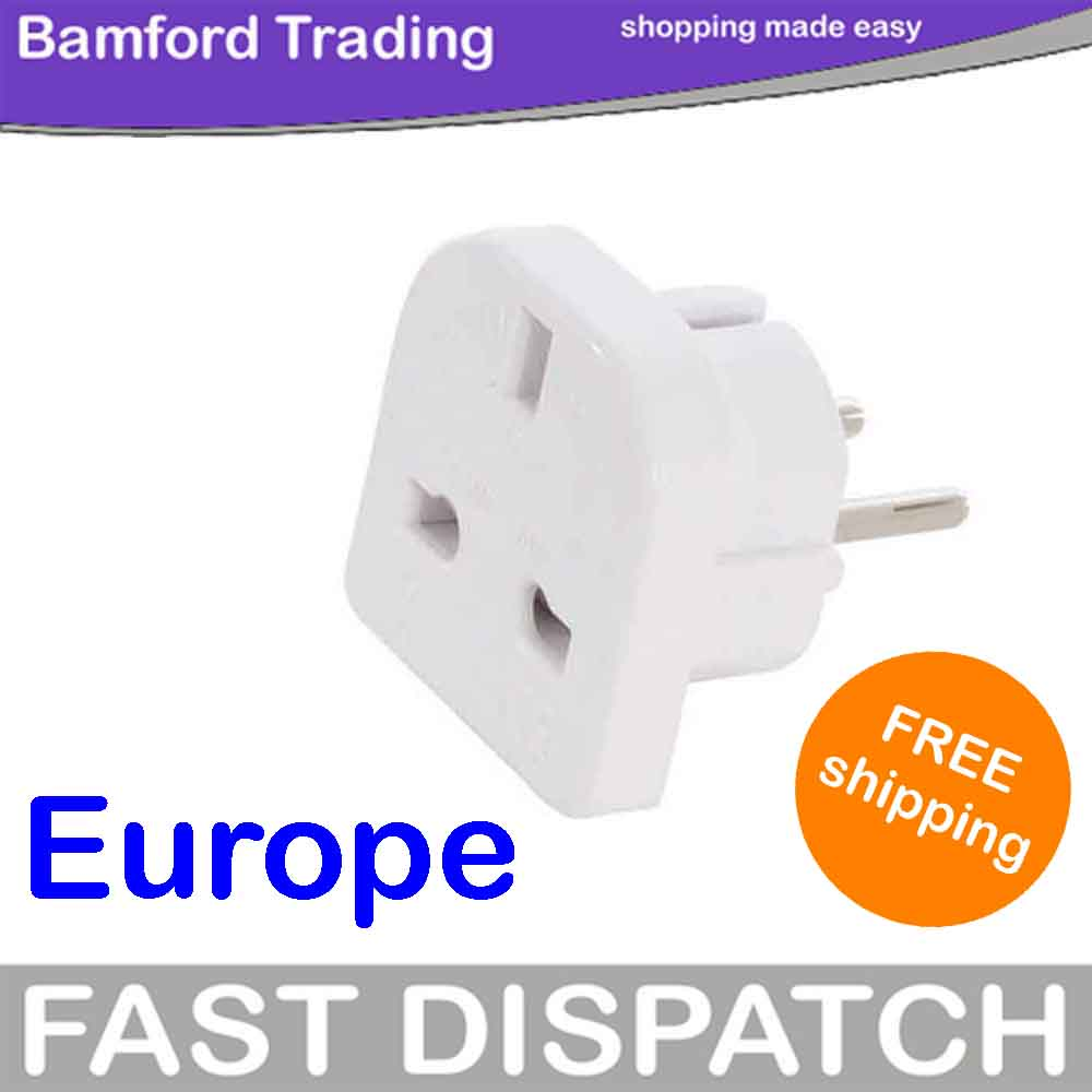 EUROPEAN 240V TO 110V PLUG 3 TO 2 PIN TRAVEL ADAPTOR Enlarged Preview