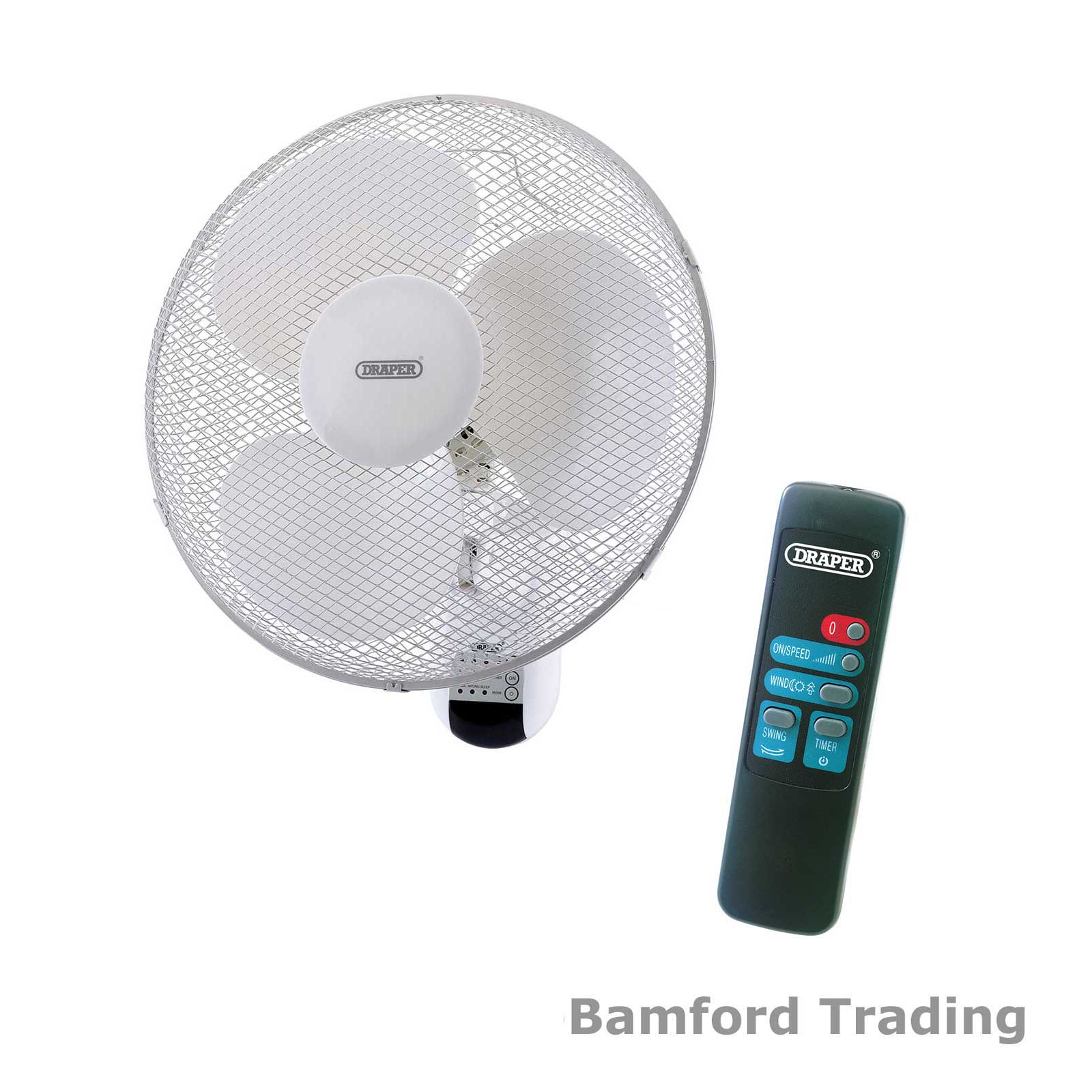 Wall Mounted Fans With Remote Control : Draper quot wall mounted remote controlled fan with tilt
