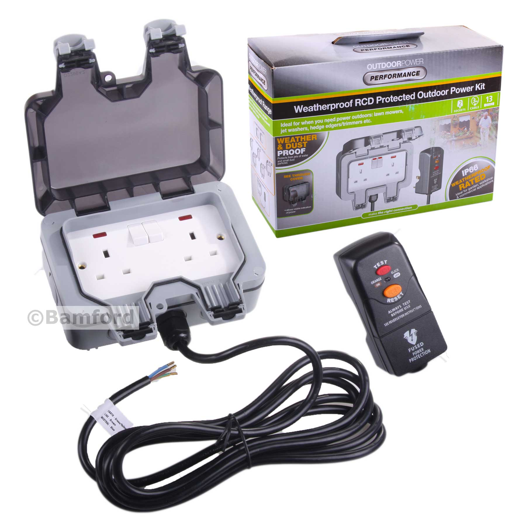 Masterplug Weatherproof Outdoor Mains Power Kit Twin