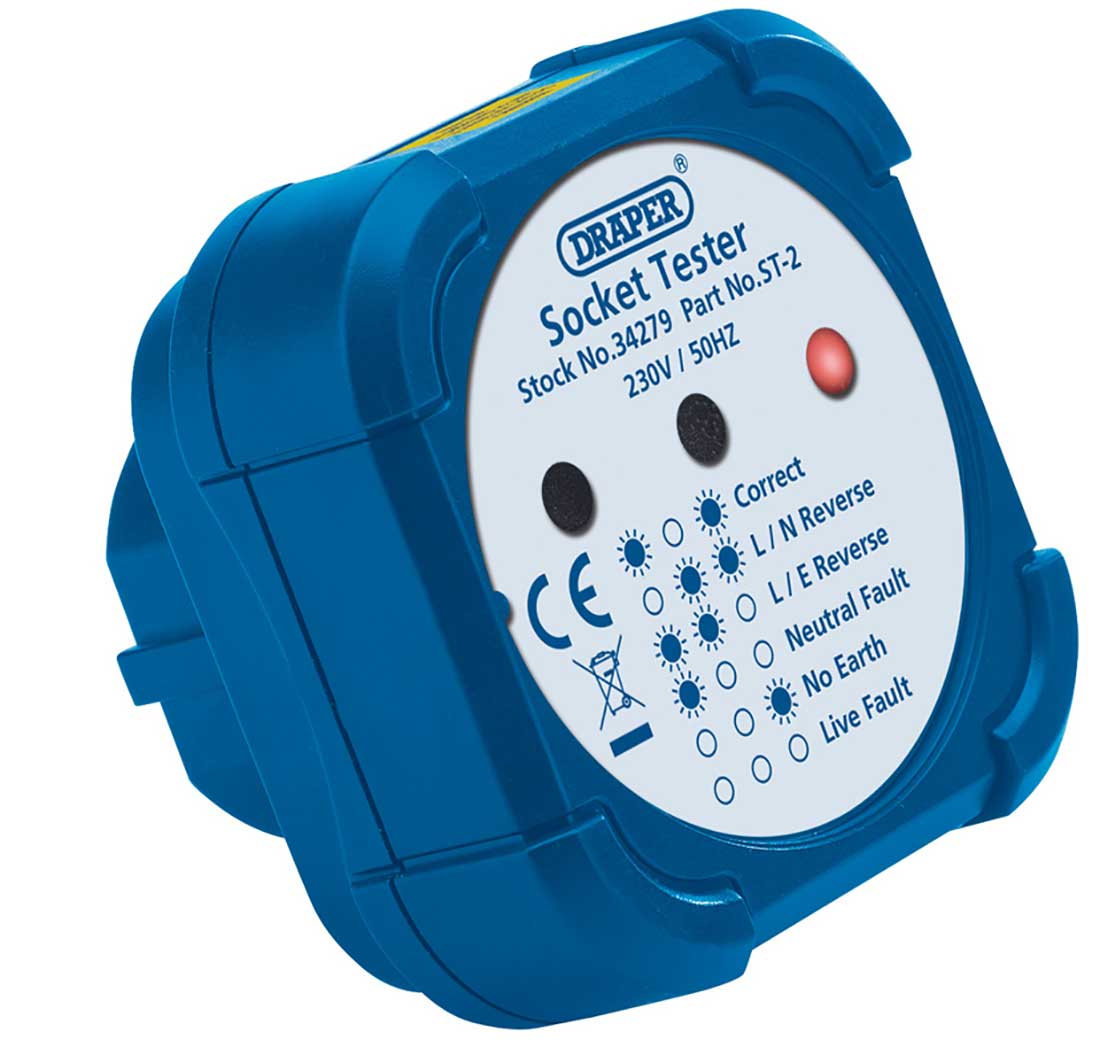 Electrical Socket Tester : Draper a uk electrical wall socket wiring tester plug