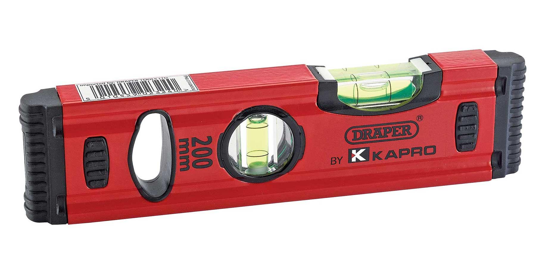 Spirit Level 200mm Quality Draper Kapro Small Short Box Section Unbreakable Vial