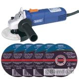 Draper 68419 600W 115mm Angle Grinder Kit With 5 Stone Cutting Discs